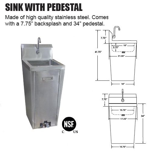 OMCAN NSF Commercial Stainless Steel Pedestal Hand-Washing Sink