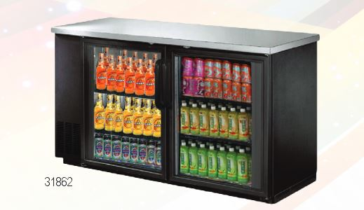 "OMCAN 61"" 15.8cf 2-Door Commercial Glass Back Bar Bottle Cooler"