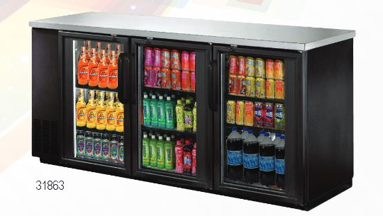 "OMCAN 73"" 19.6cf 3-Door Commercial Glass Back Bar Bottle Cooler"