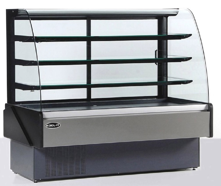 "KOOL-IT 77.5""W x 54""H 32cf Refrigerated Curved Glass Bakery Display Case (Made in Europe)"