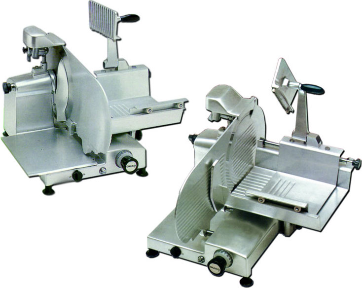 Omas 12in Commercial Horizontal Gear-Driven Fresh Meat Slicer