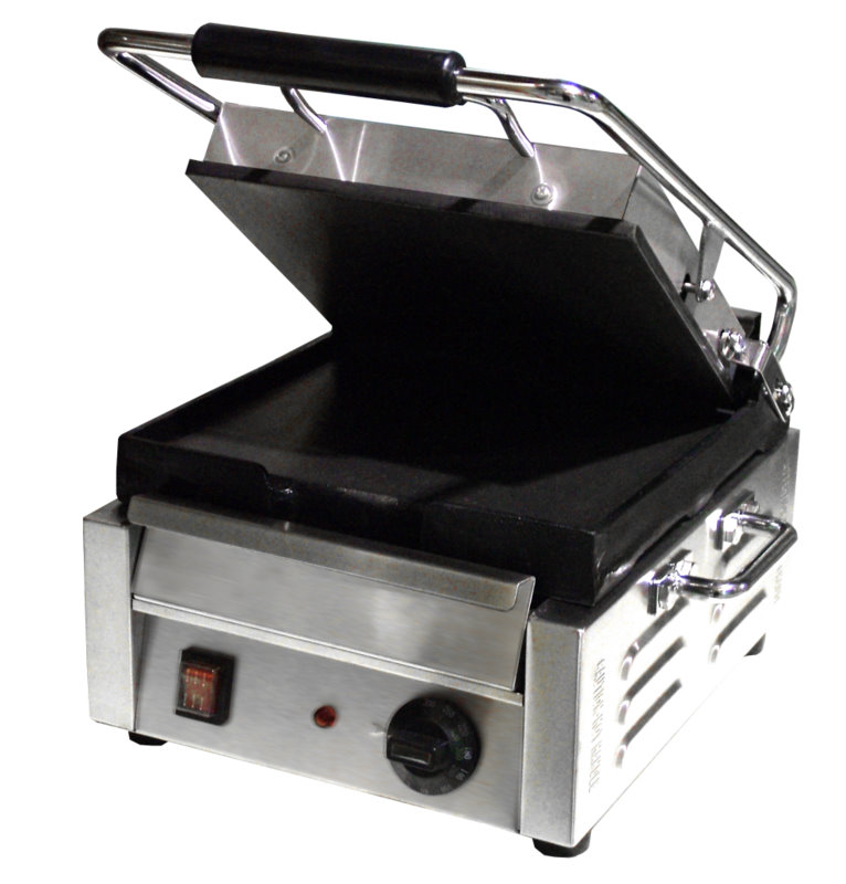 OMCAN Stainless 10.5in Commercial Electric Sandwich & Pita Grill (Flat Plates)