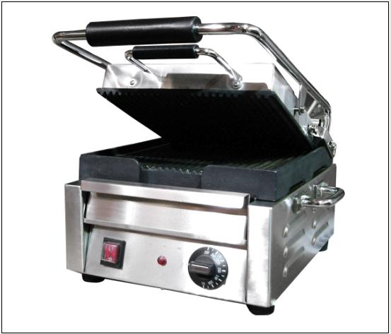 OMCAN Stainless 10.5in Commercial Panini Grill (ribbed top and bottom)