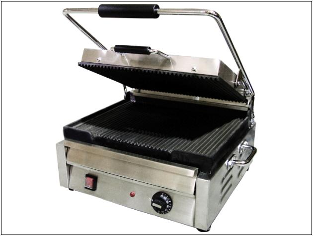 OMCAN Stainless 15in Commercial Panini Grill (ribbed top and bottom)