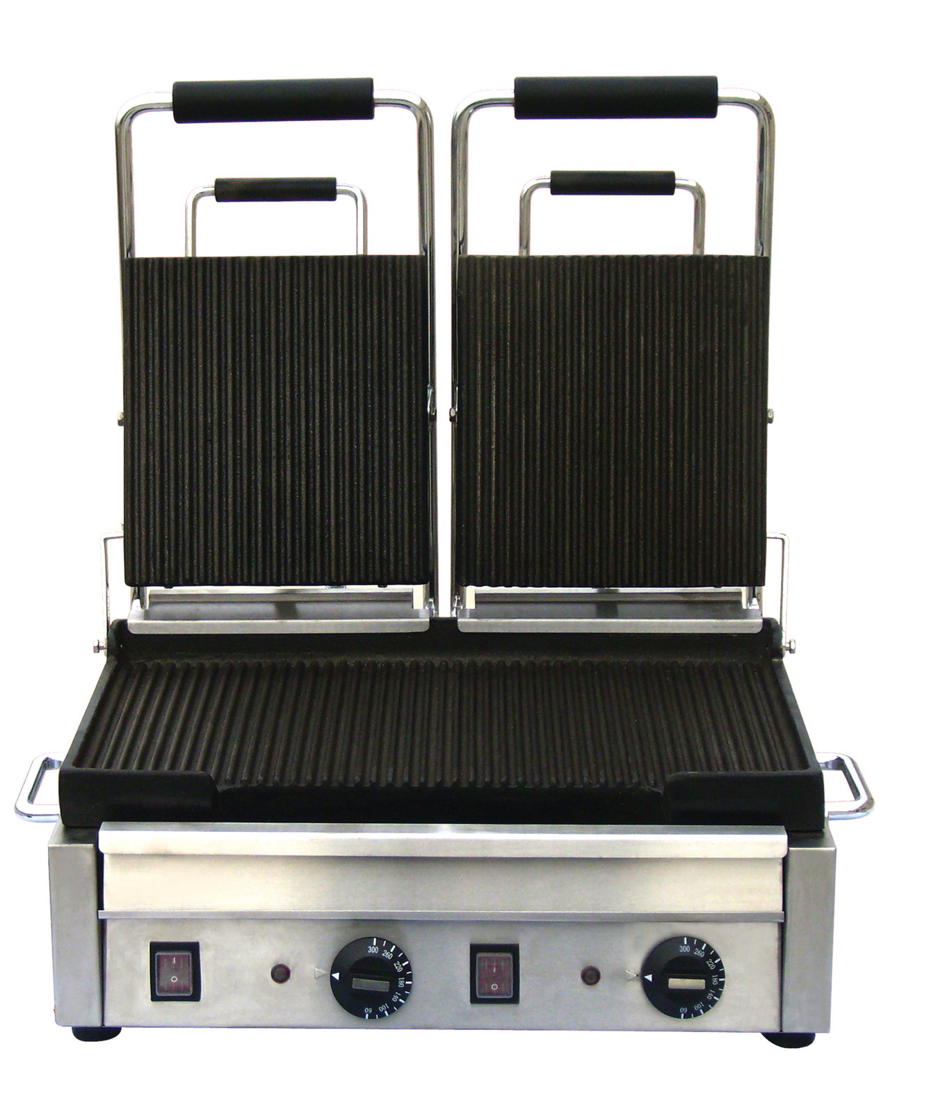 OMCAN Stainless 18in Double Commercial Panini Grill (ribbed top and bottom)