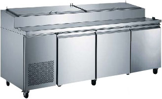 "Alamo 92""W 3-Door Commercial Refrigerated Pizza Prep Table"
