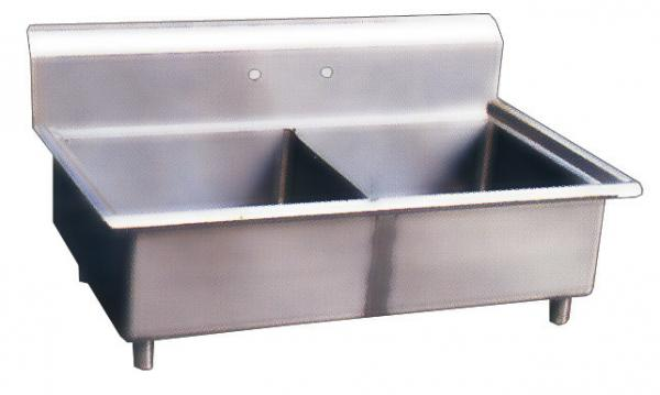 18x18x11 Stainless Steel Two Tub Pot Sink