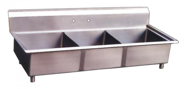 18x18x11 Stainless Steel Three Tub Pot Sink