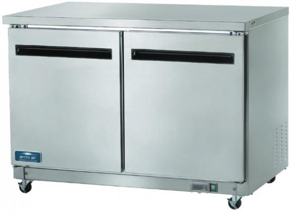 Arctic Air 12cf 2-Door Stainless Commercial Undercounter Worktop Refrigerator