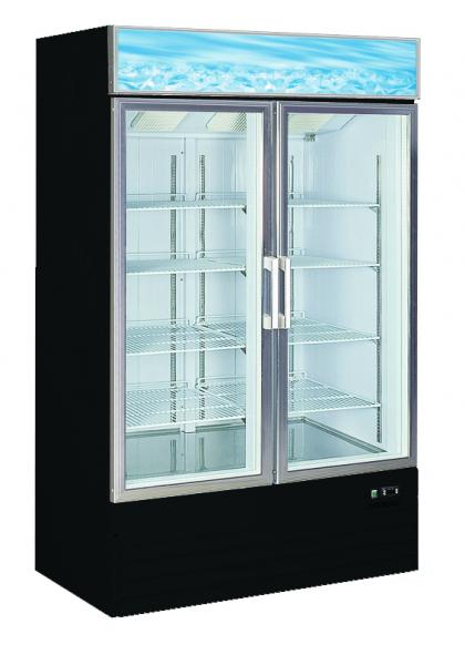 ALAMO 25cf Commercial 2-Glass Door Display FREEZER Merchandiser (BLACK)