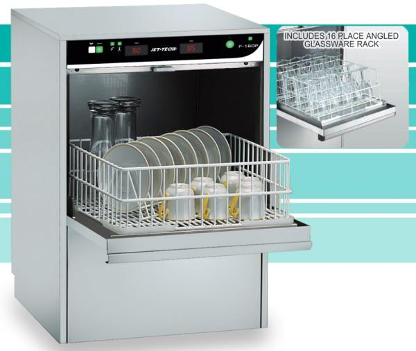 Jet-Tech F-16DP Compact HIGH-temp Undercounter Commercial Dishwasher