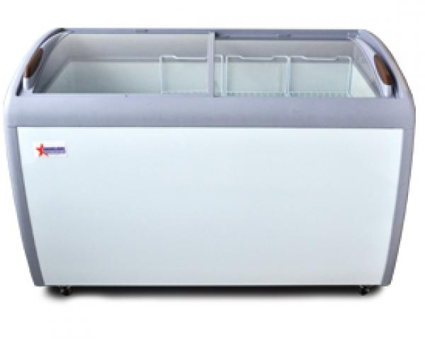 "OMCAN 13cf 50"" Commercial Curved Glass Display Ice Cream Freezer"