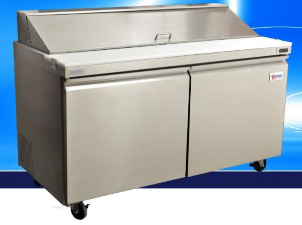"OMCAN 60""W 2-Door Stainless Commercial Refrigerated Sandwich Prep Table (PREMIUM edition)"