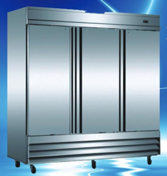 OMCAN 66cf 3-Door Stainless Commercial Reach-in Cooler Refrigerator (PREMIUM edition)