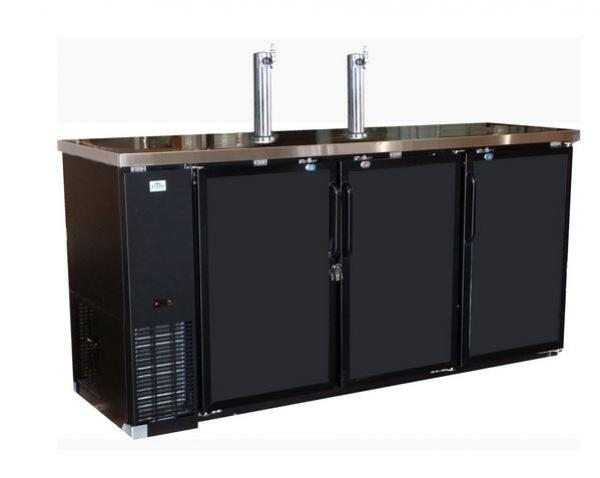 "Alamo 90"" 3-Door 2-Tower Commercial Bar Kegerator"