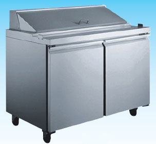 "OMCAN 48""W 2-Door Stainless Commercial Refrigerated Sandwich Prep Table (PREMIUM edition)"