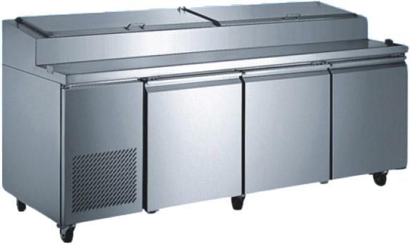 "OMCAN 92"" 3-Door Stainless Commercial Refrigerated Pizza Prep Table (PREMIUM edition)"