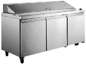 "Alamo 70""W 3-Door Commercial Refrigerated Sandwich & Salad Prep Table"