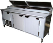 New US-made 72in Refrigerated Stainless Pizza Prep Table
