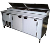New US-made 96in Refrigerated Stainless Pizza Prep Table
