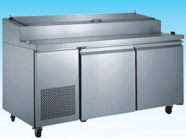 OMCAN Door Stainless Commercial Refrigerated Pizza Prep Table - Restaurant supply prep table